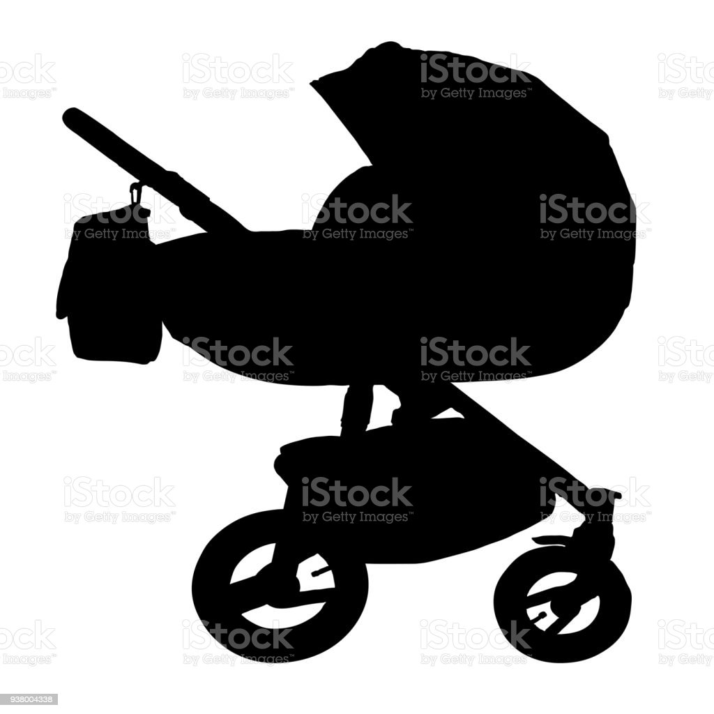https www istockphoto com illustrations silhouette of a vintage baby strollers
