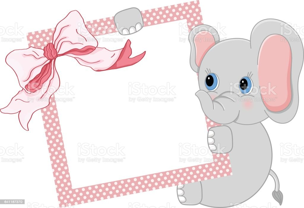 Baby Elephant Holding Pink Frame And Ribbon Stock Vector