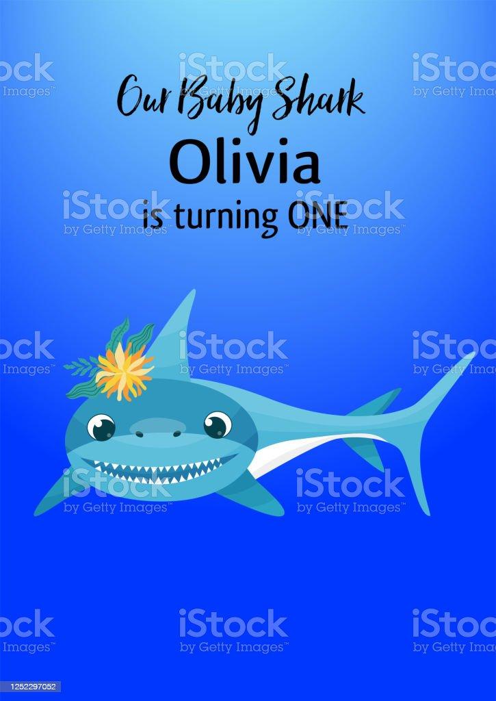 baby shark birthday invitation card template vector illustration stock illustration download image now istock