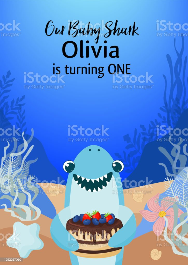 baby shark invitation card template childrens birthday party invitation vector illustration well organized in layers stock illustration download image now istock