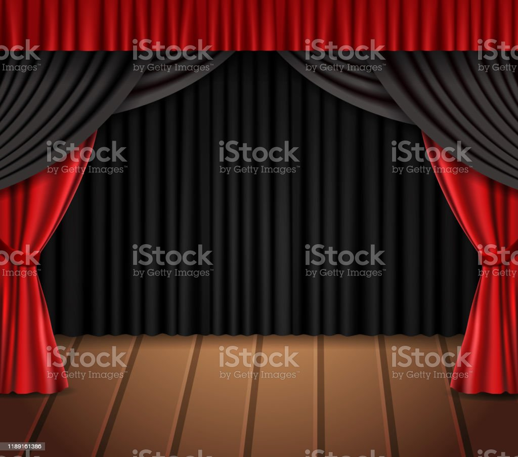 https www istockphoto com fr vectoriel fond avec le rideau noir et rouge sur le plancher en bois gm1189161386 336606988