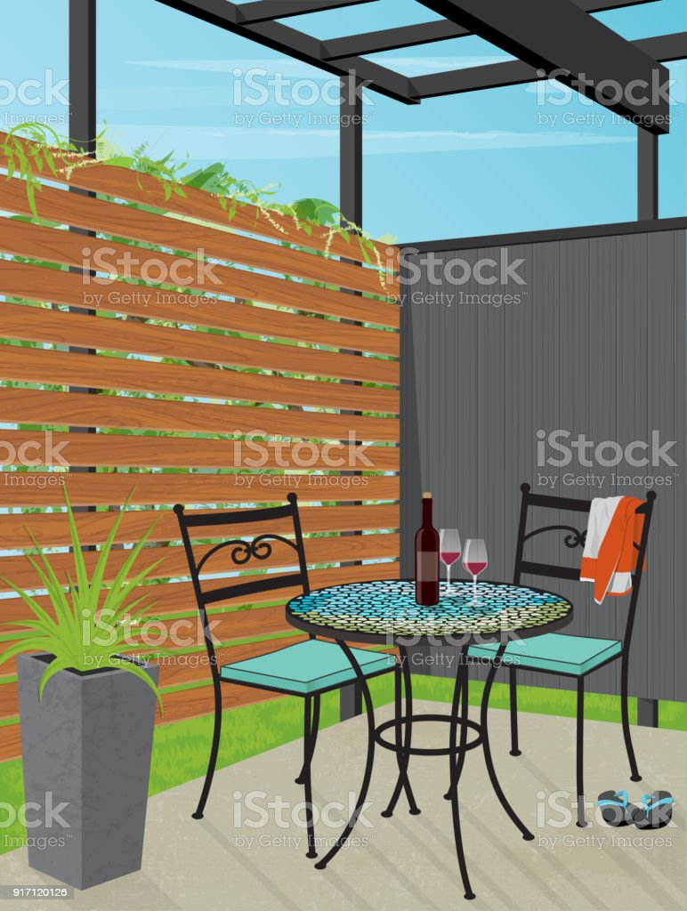 backyard patio bistro table stock illustration download image now istock