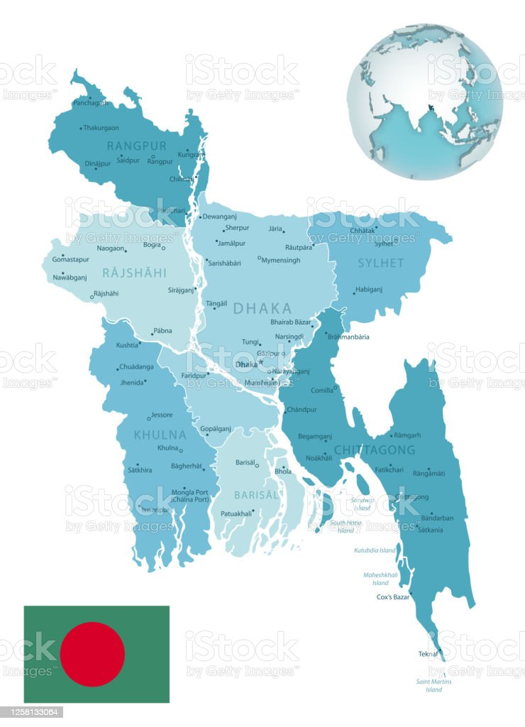 Bangladesh Administrative Bluegreen Map With Country Flag And Location On A Globe Stock Illustration Download Image Now Istock