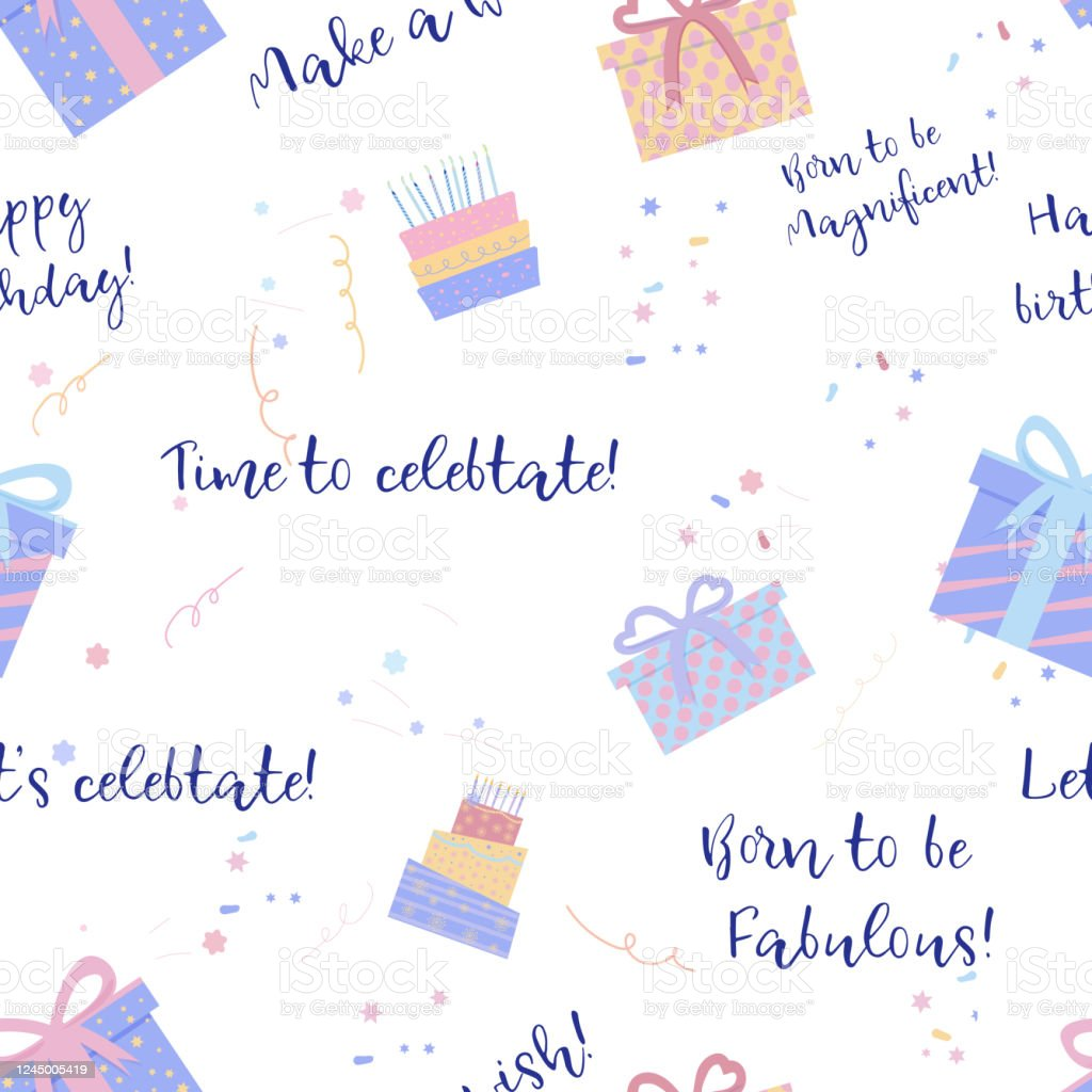 banner with wrap birthday pattern in pastel color on wight background surprise banner celebration and party package design vintage doodle invitation card birthday pattern on white background stock illustration download image