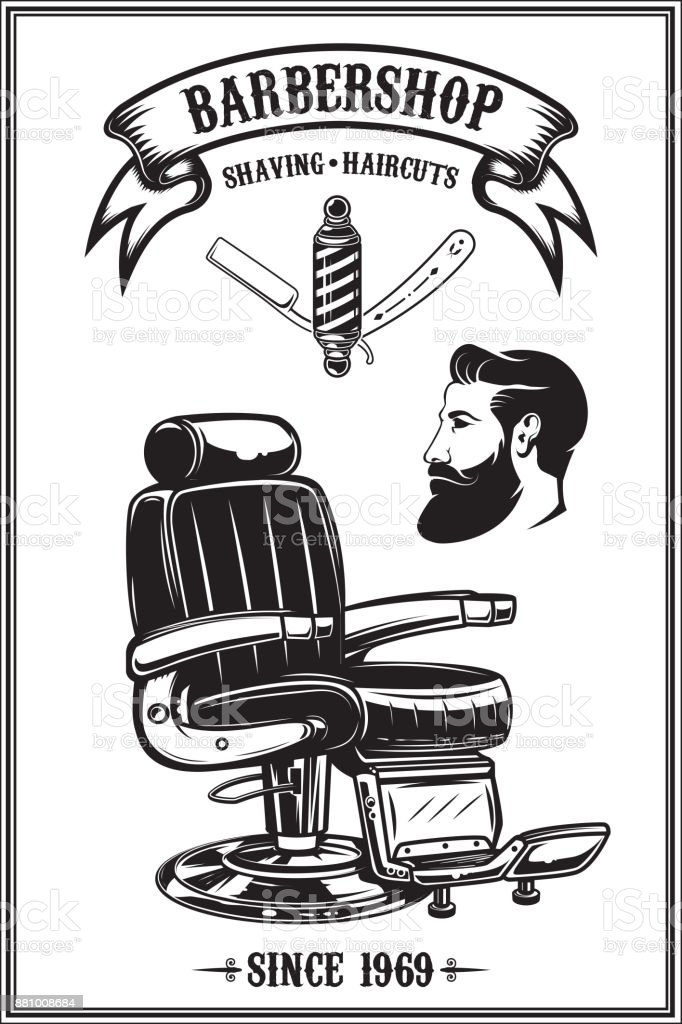 barbershop poster with barber chair haircut tools design elements for poster emblem vector illustration stock illustration download image now istock