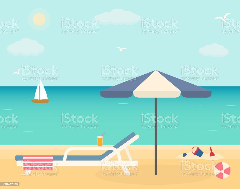 https www istockphoto com fr vectoriel chaise de plage avec parasol sur la plage de sable fin gm864412000 143413355