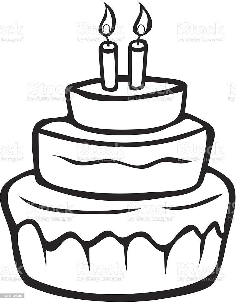 312 Black And White Birthday Cake Illustrations Clip Art Istock
