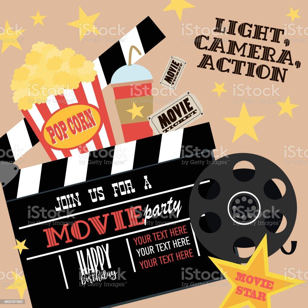 carte dinvitation fete anniversaire film party parti de hollywood affiche de cinema vecteurs libres de droits et plus d images vectorielles de affaires finance et industrie istock