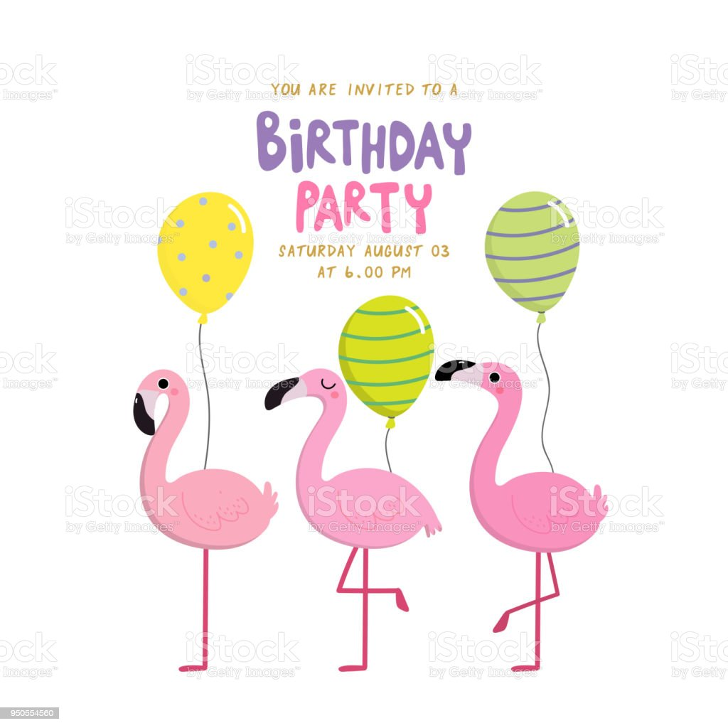 birthday party invitation card with flamingo stock illustration download image now istock