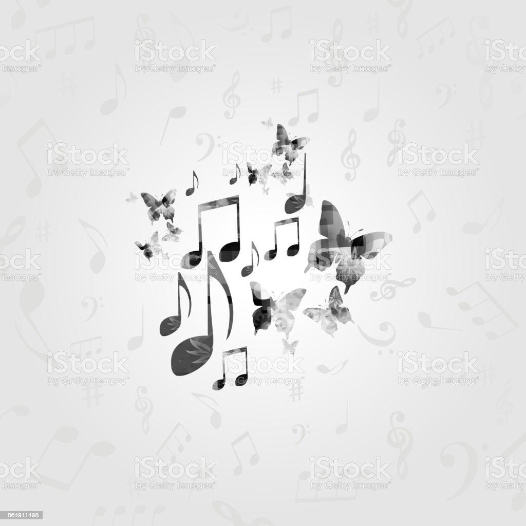 schwarz weiss musik poster mit noten stock vektor art und mehr bilder von design istock
