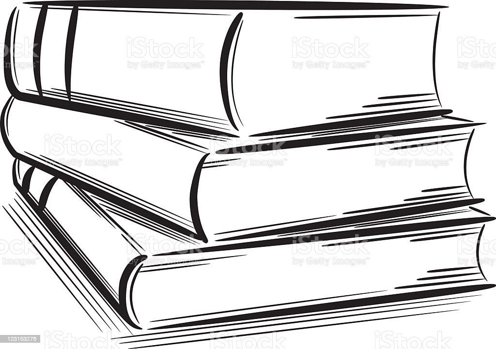 Black Outline Sketches Of A Pile Of Books Stock Vector Art