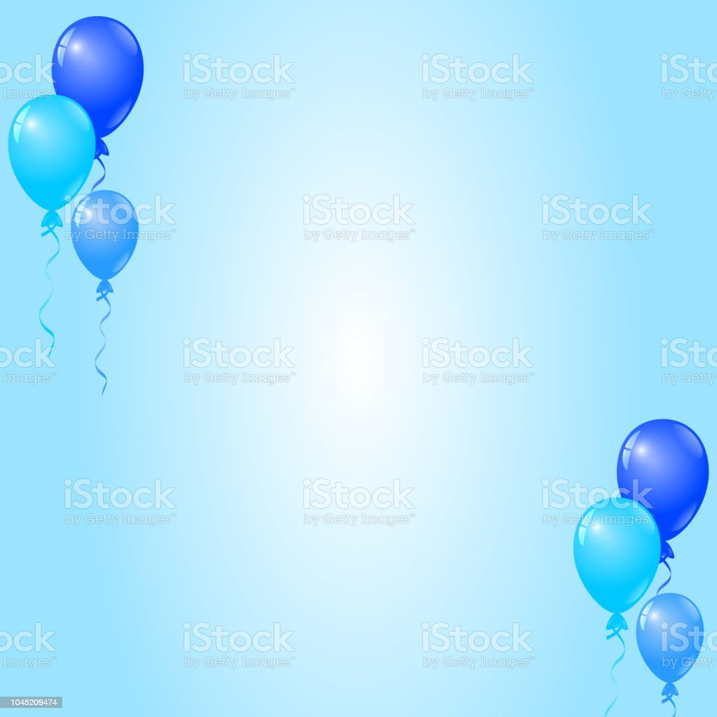 blue balloons on blue background birthday card party invitation card stock illustration download image now istock