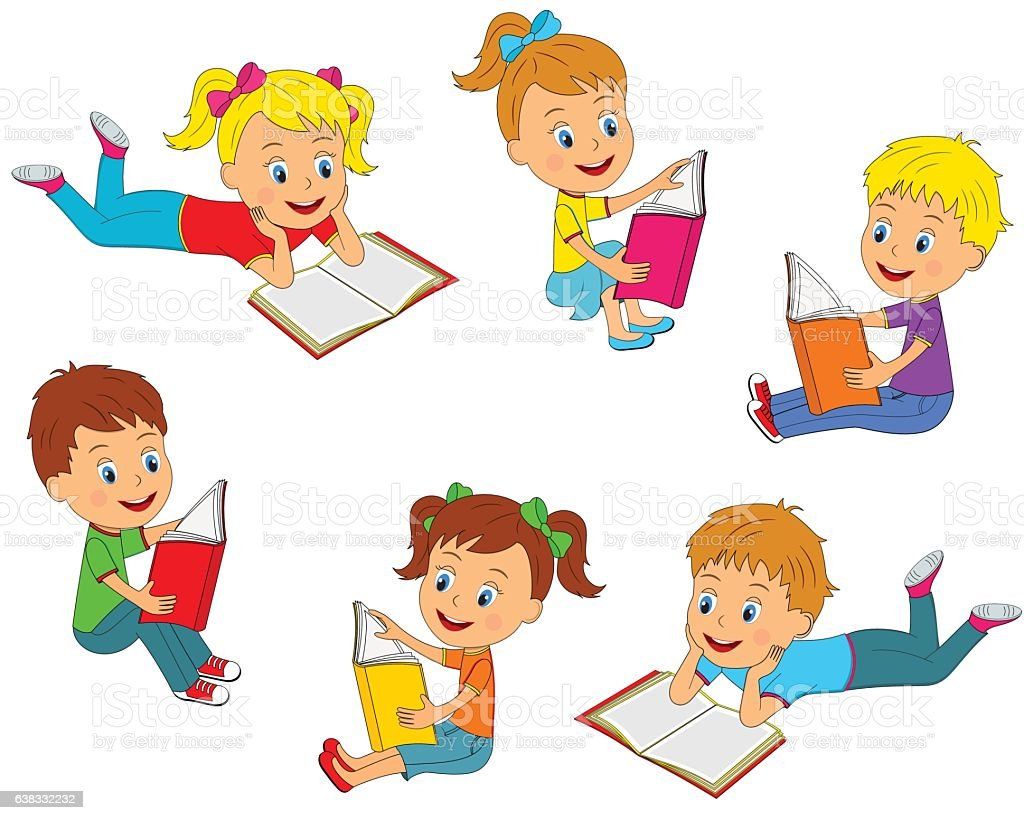 Boys And Girls Reading A Book Collection Stock Vector Art