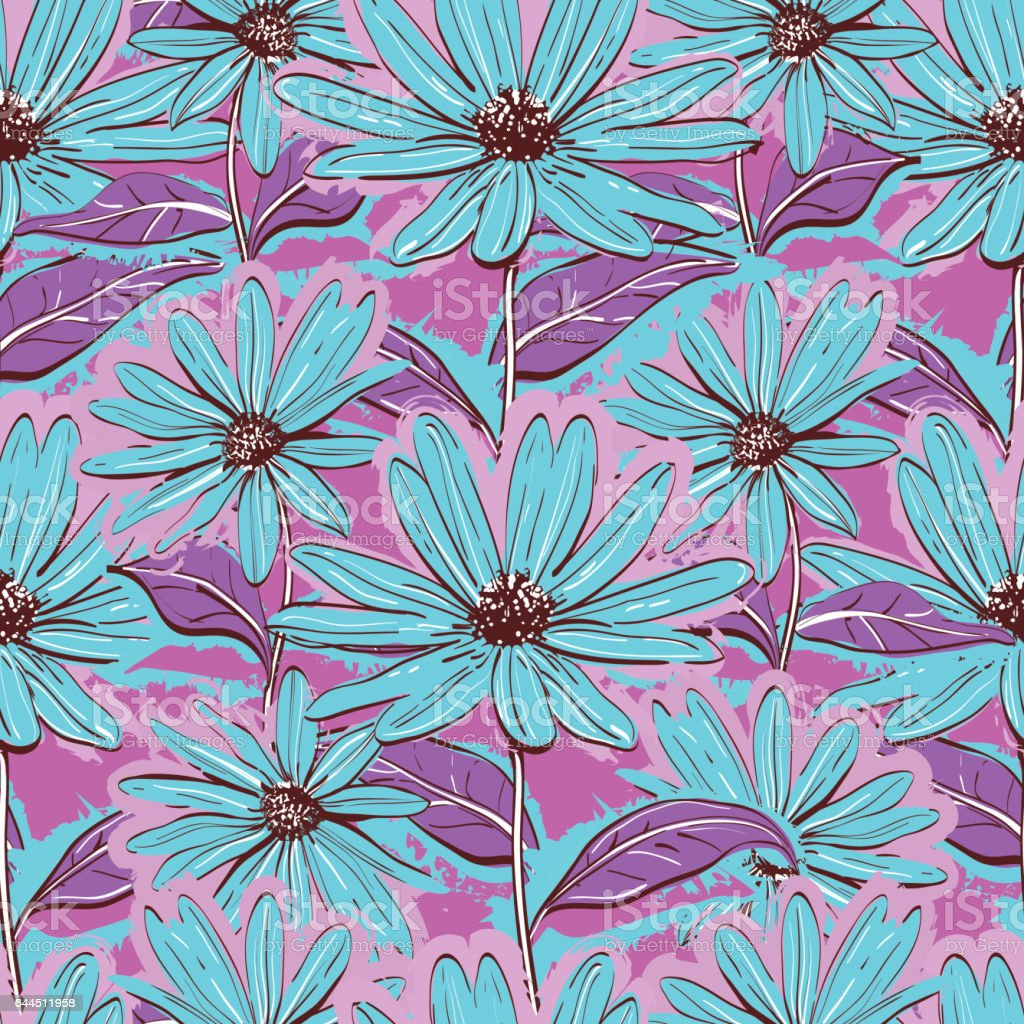 Bright Floral Seamless Pattern Wallpaper Chamomiles Handdrawn Daisies Juicy Background Stock Illustration Download Image Now Istock