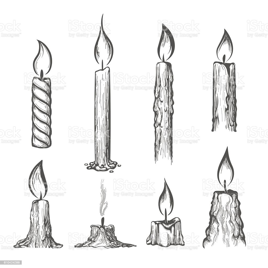 Candle Hand Drawn Set Stock Vector Art Amp More Images Of