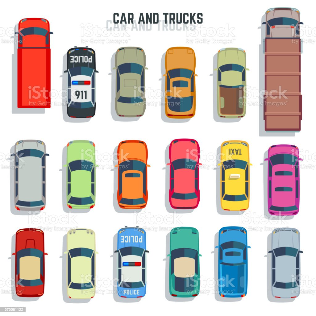 Cars And Trucks Top View Flat Vector Icons Set Stock