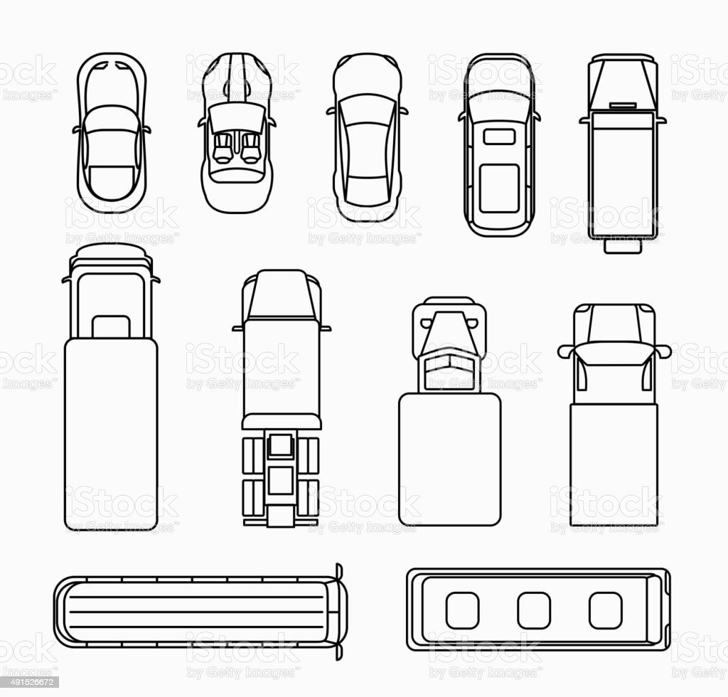Cars Thin Line Icons Top View Stock Illustration