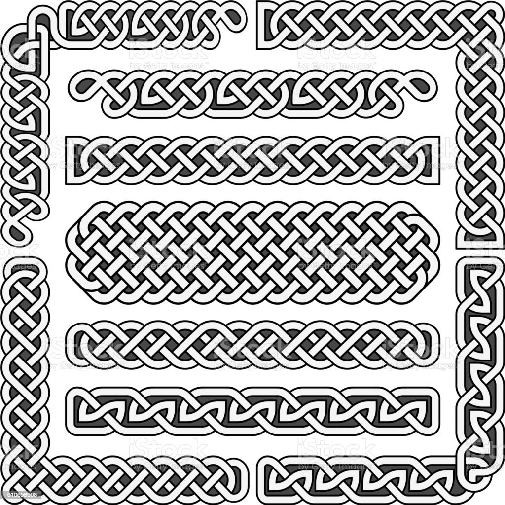 Celtic Knots Vector Medieval Seamless Borders Patterns And