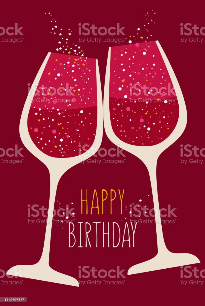 788 Happy Birthday Wine Glass Illustrations Clip Art Istock