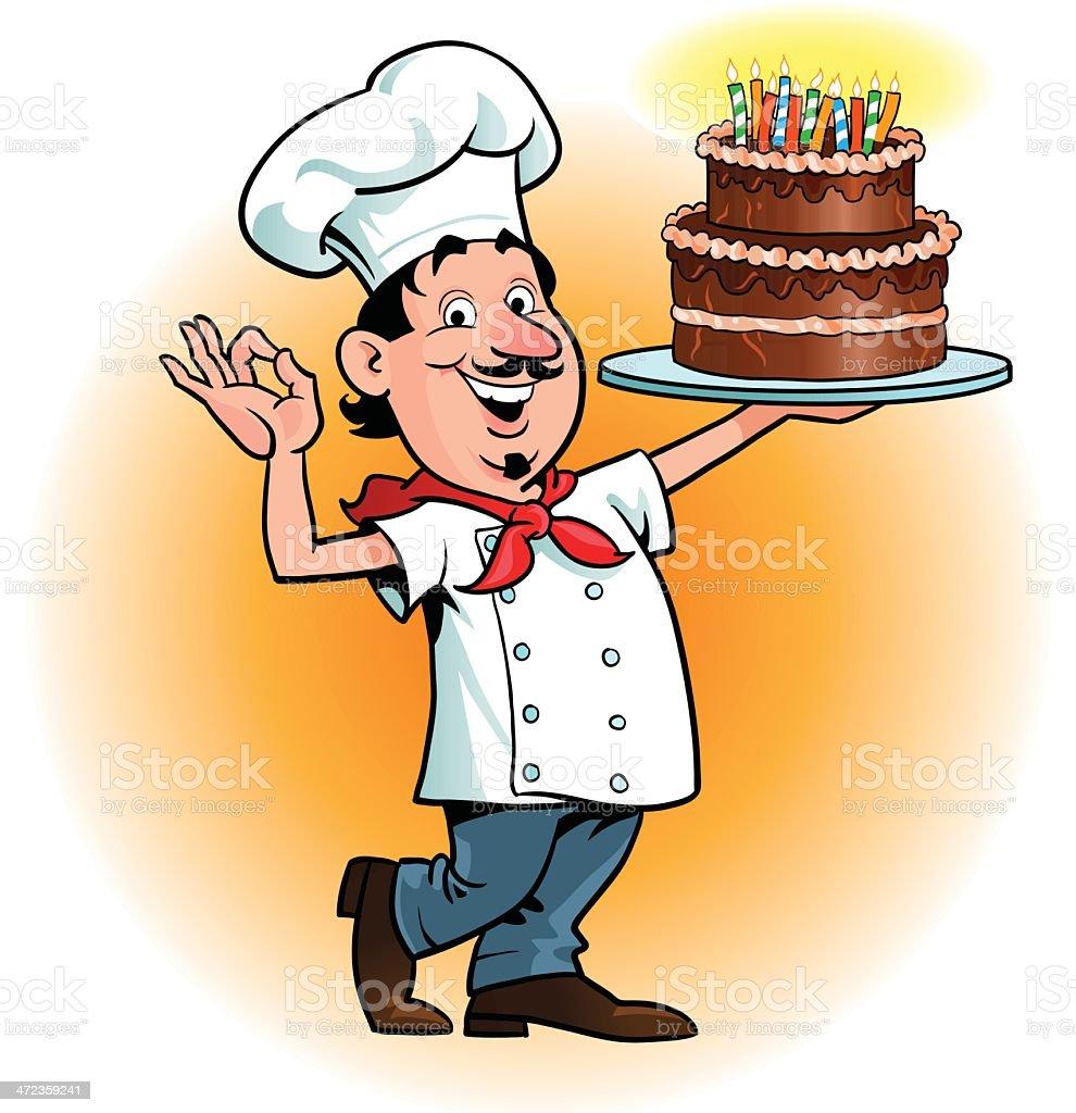Chefs Ok Gesture For A Birthday Cake Stock Vector Art