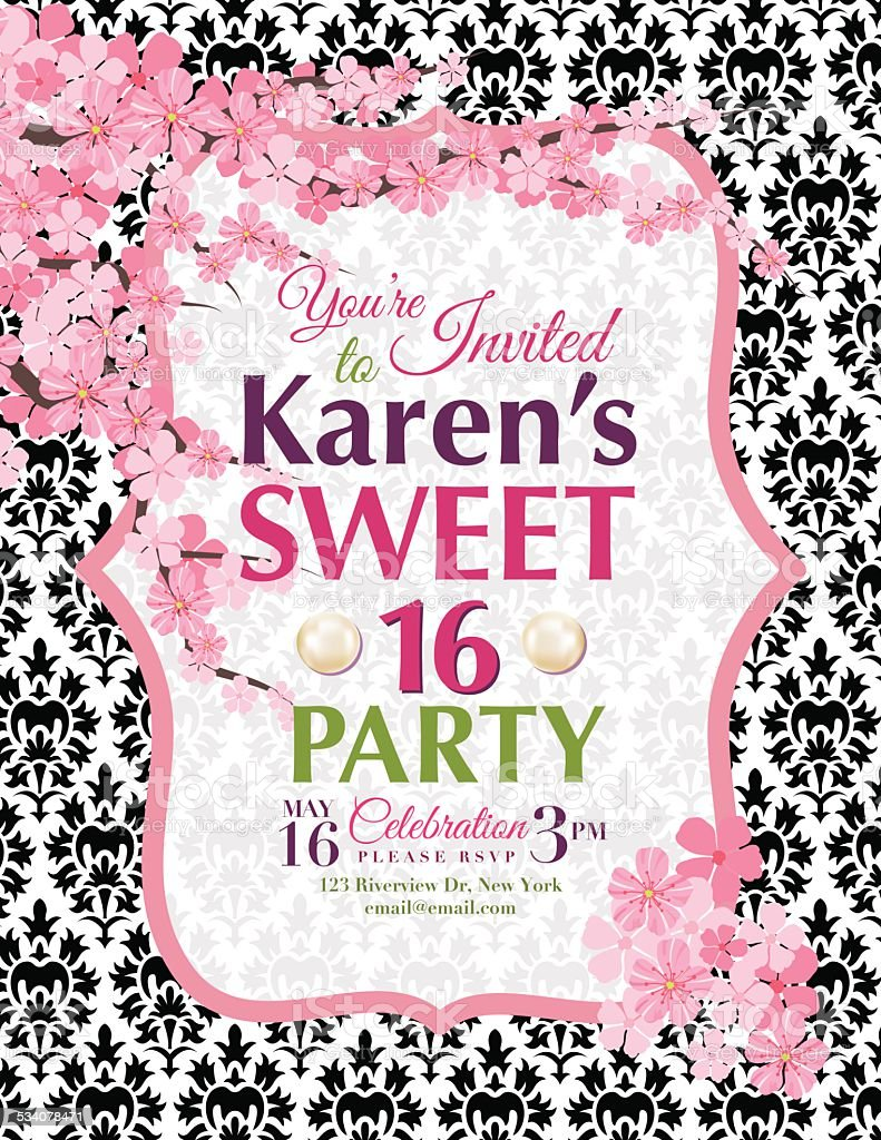 https www istockphoto com vector cherry blossoms sweet 16 birthday party invitation template gm534078471 56837264
