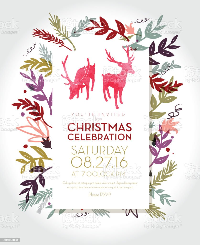 Christmas Celebration Invitation Template With Hand Drawn