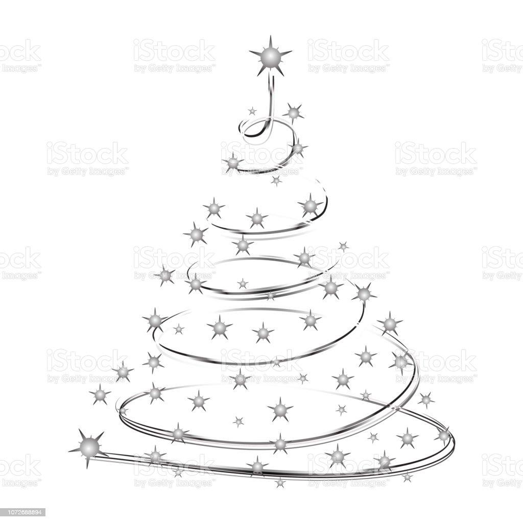 arbre de noel forme silhouette faite detoiles scintillantes arbre de neon vecteur isole sur fond blanc arbre de noel pour la conception carte invitation imprimer vecteurs libres de droits et plus d images