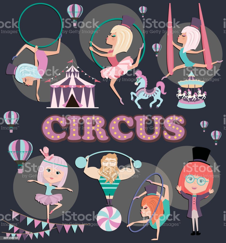 https www istockphoto com vector circus illustration poster with cute gymnast girl and circus decor template card for gm881356258 245390432