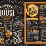 Coffee Restaurant Menu Vector Drink Flyer For Bar And Cafe Design Template On Blackboard Background With Vintage Handdrawn Food Illustrations Stock Illustration Download Image Now Istock