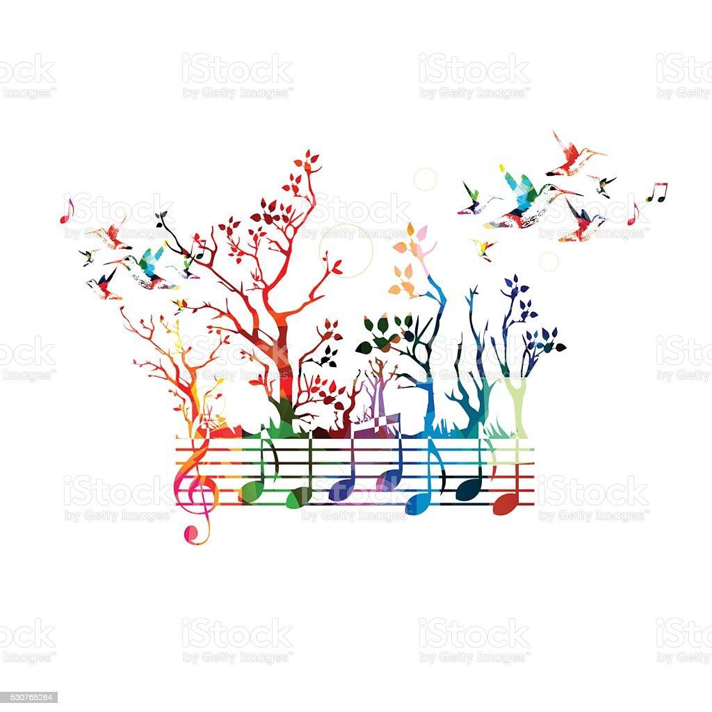 https www istockphoto com fr vectoriel musique haute en couleur de la musique de fond avec des notes et des colibris gm530765284 93518619