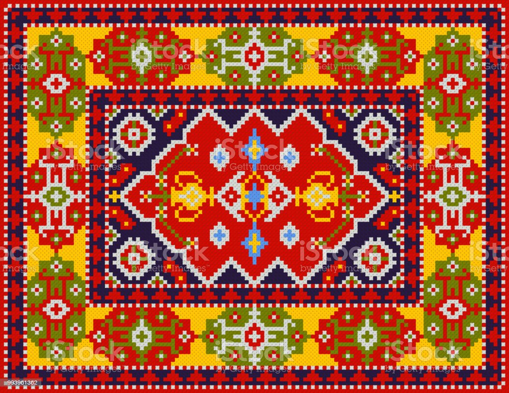Colorful Oriental Rug With Traditional Folk Geometric
