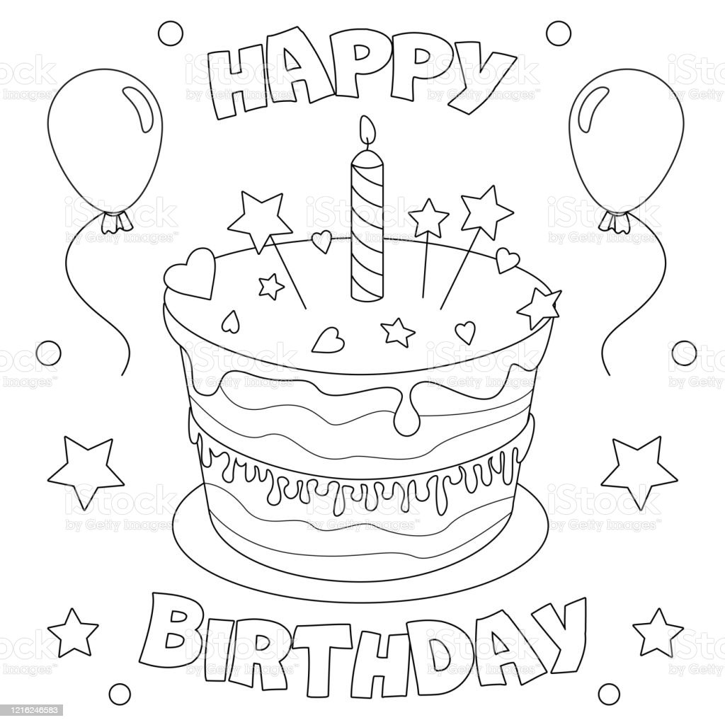 136 Birthday Cake Coloring Page Illustrations Clip Art Istock