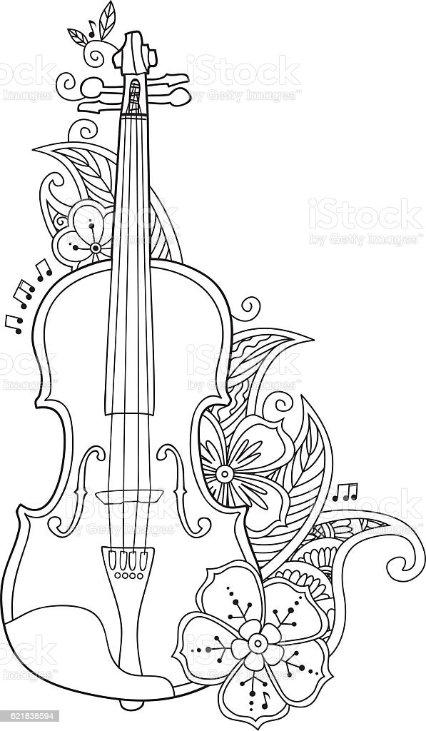 Coloring page violin flowers and leafs stock vector, i love you printable coloring pages