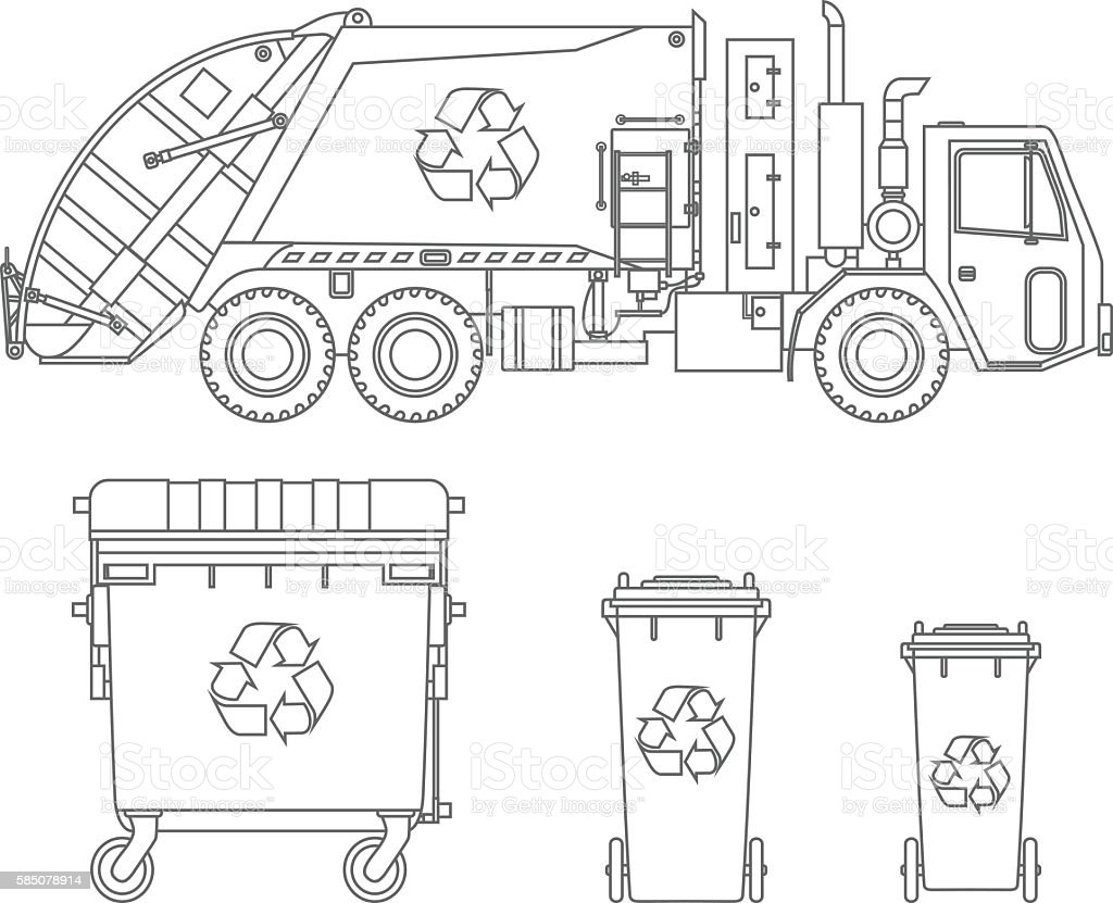 Coloring Pages Garbage Truck And Different Types Of