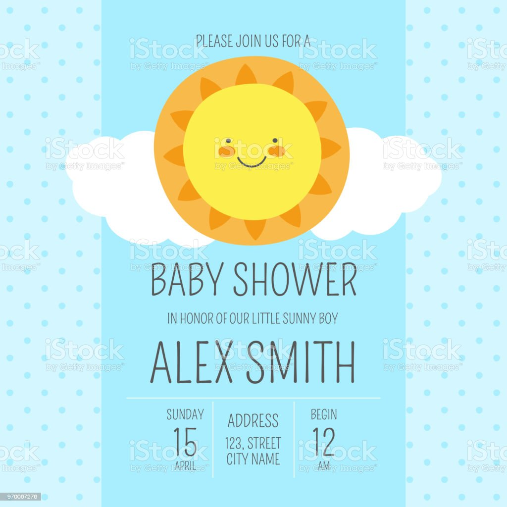 cute baby shower boy invite card vector template blue design illustration with funny cartoon sun kids newborn nursery poster or sunny birthday party invitation background stock illustration download image now istock