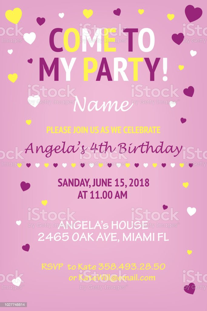 cute pink background girls birthday party invitation design template stock illustration download image now istock