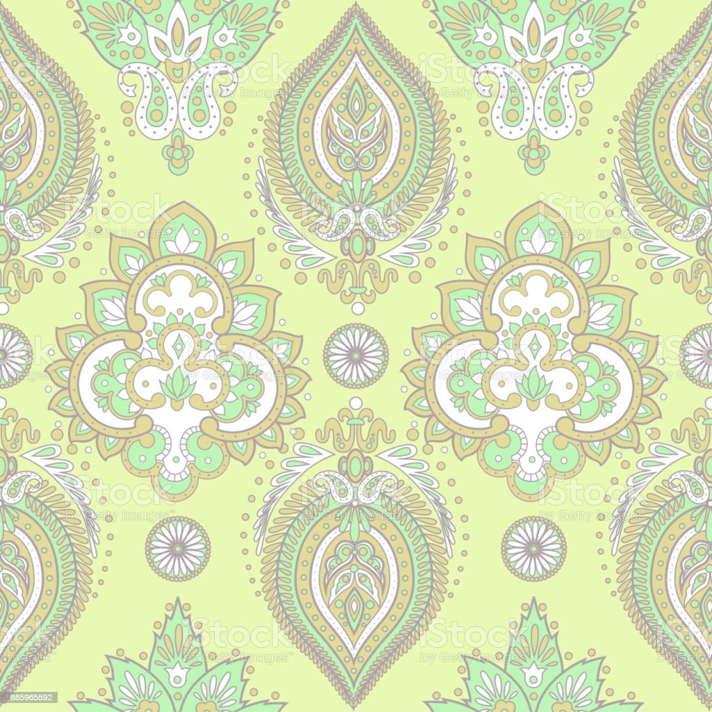 Damask Seamless Pattern With Flowers In Indian Style Floral Vector Wallpaper Stock Illustration Download Image Now Istock