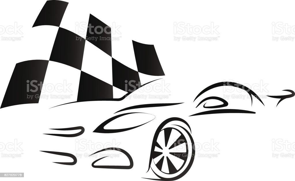 Black Nascar Flag And White