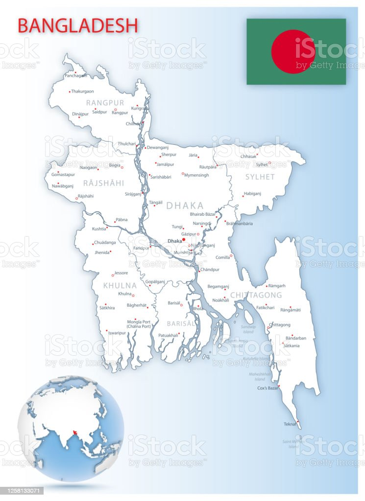 Detailed Bangladesh Administrative Map With Country Flag And Location On A Blue Globe Stock Illustration Download Image Now Istock