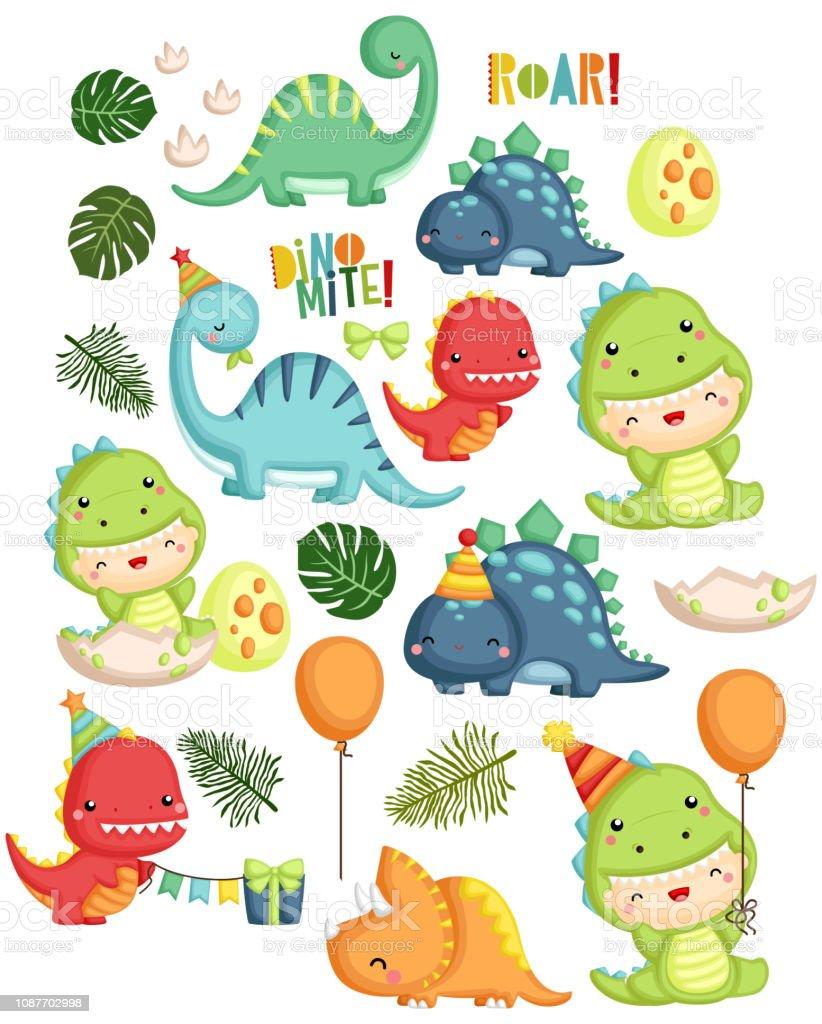 666 dinosaur birthday illustrations clip art istock