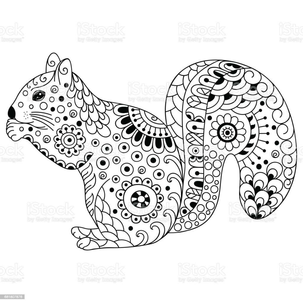 Doodle Stylized Squirrel Sketch For Coloring Book Poster
