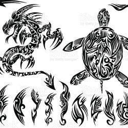 109dcdf6a Dragon And Sea Turtle Tribal Tattoo Set Stock Vector Art & More