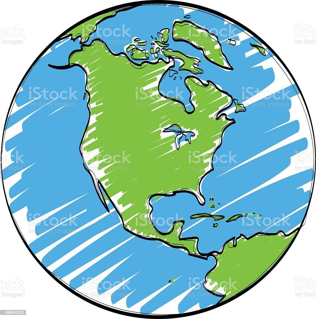 Earth Cartoon Vector Hand Drawn Stock Vector Art 489840260