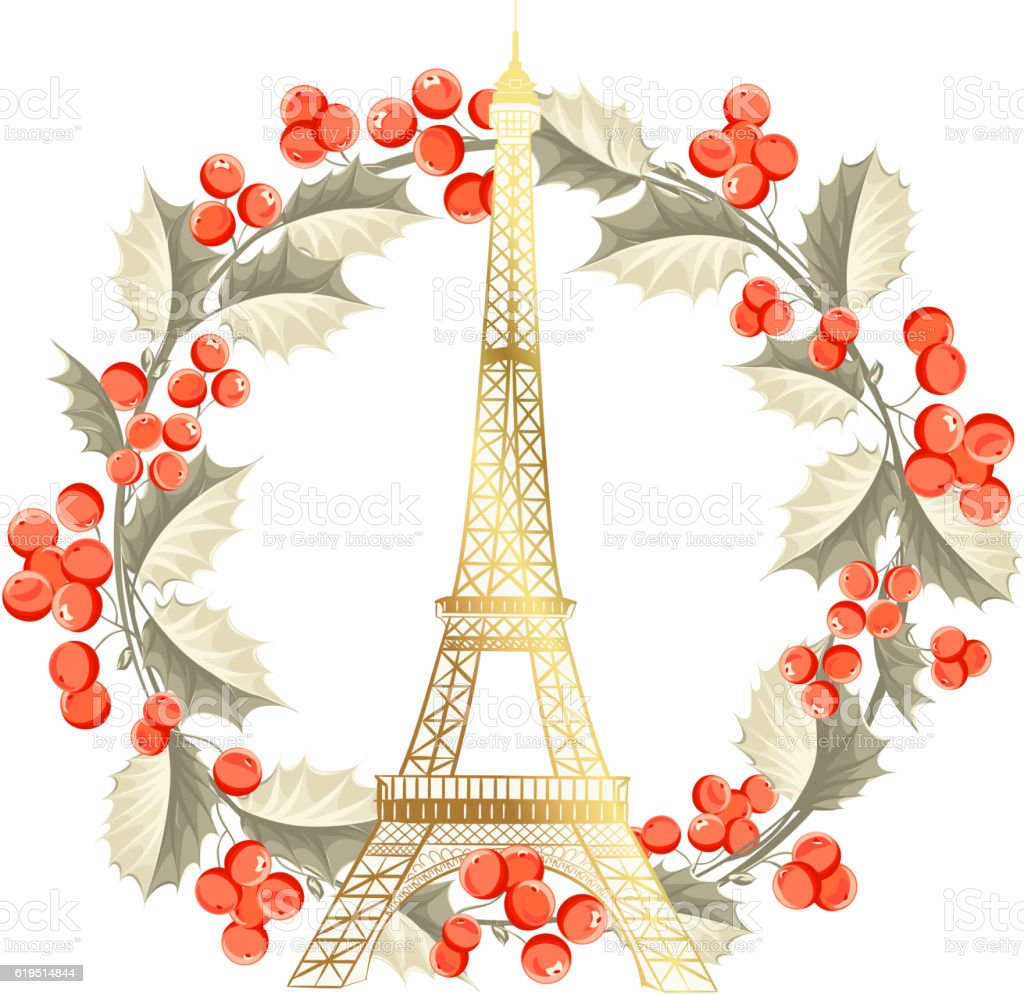 Eiffel Tower Christmas Card Stock Vector Art Amp More Images