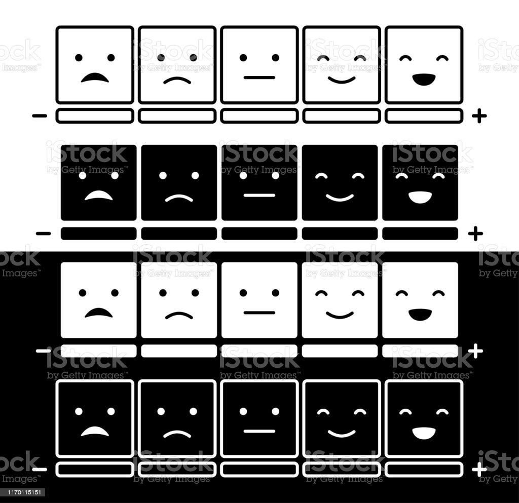 Escala Del Humor De Las Emociones Con Las Caras Planas De Los