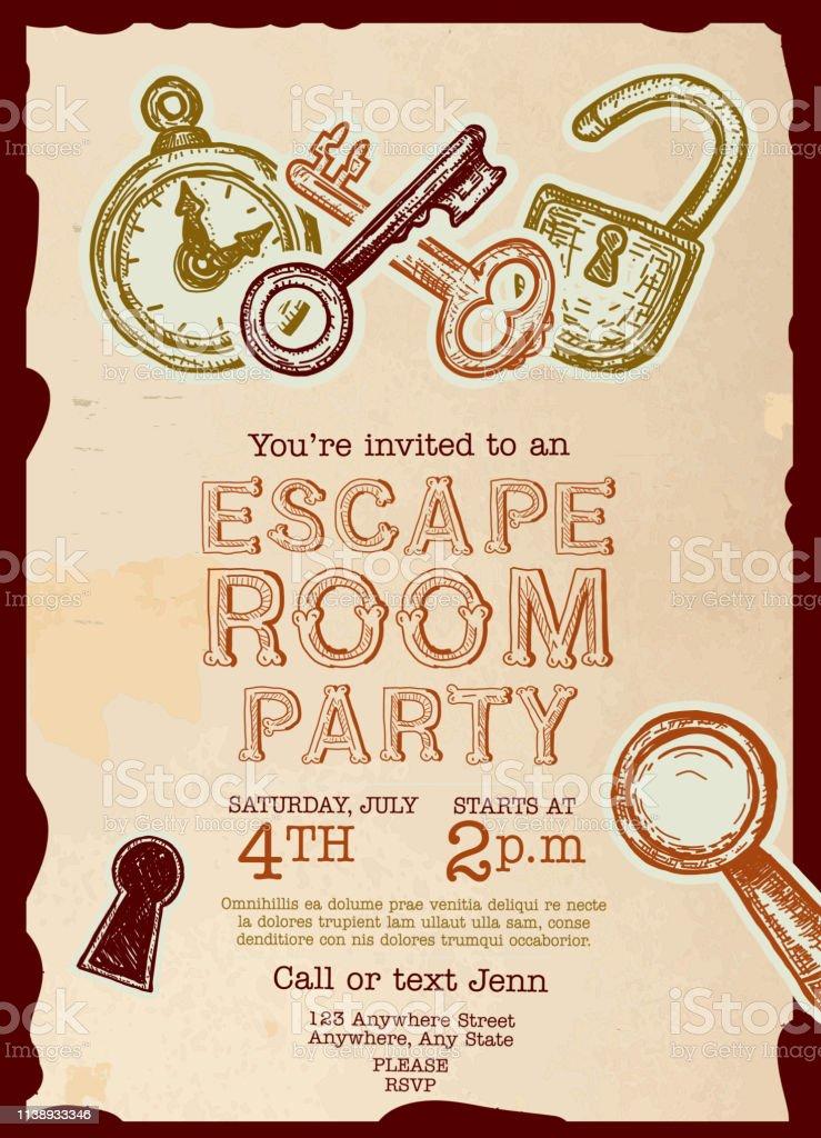 https www istockphoto com de vektor escape room birthday party feier einladung design vorlage gm1138933346 304259397