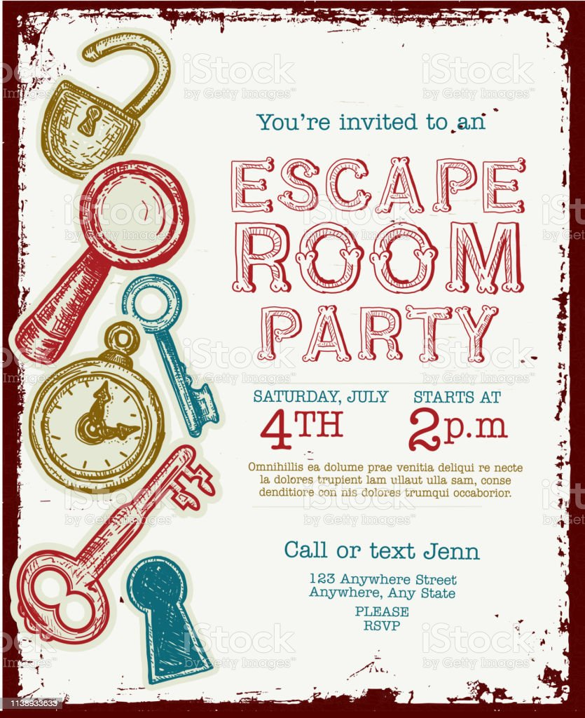 https www istockphoto com de vektor escape room birthday party feier einladung design vorlage gm1138933633 304259637