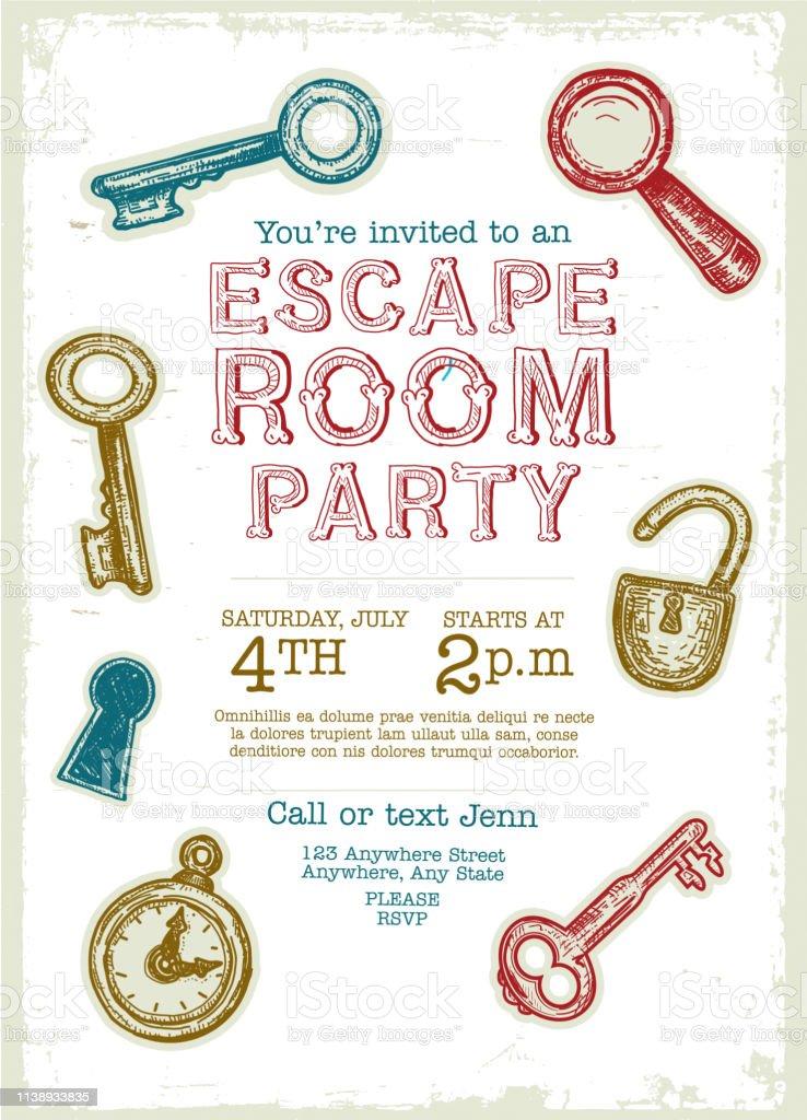 https www istockphoto com de vektor escape room birthday party feier einladung design vorlage gm1138933835 304259873