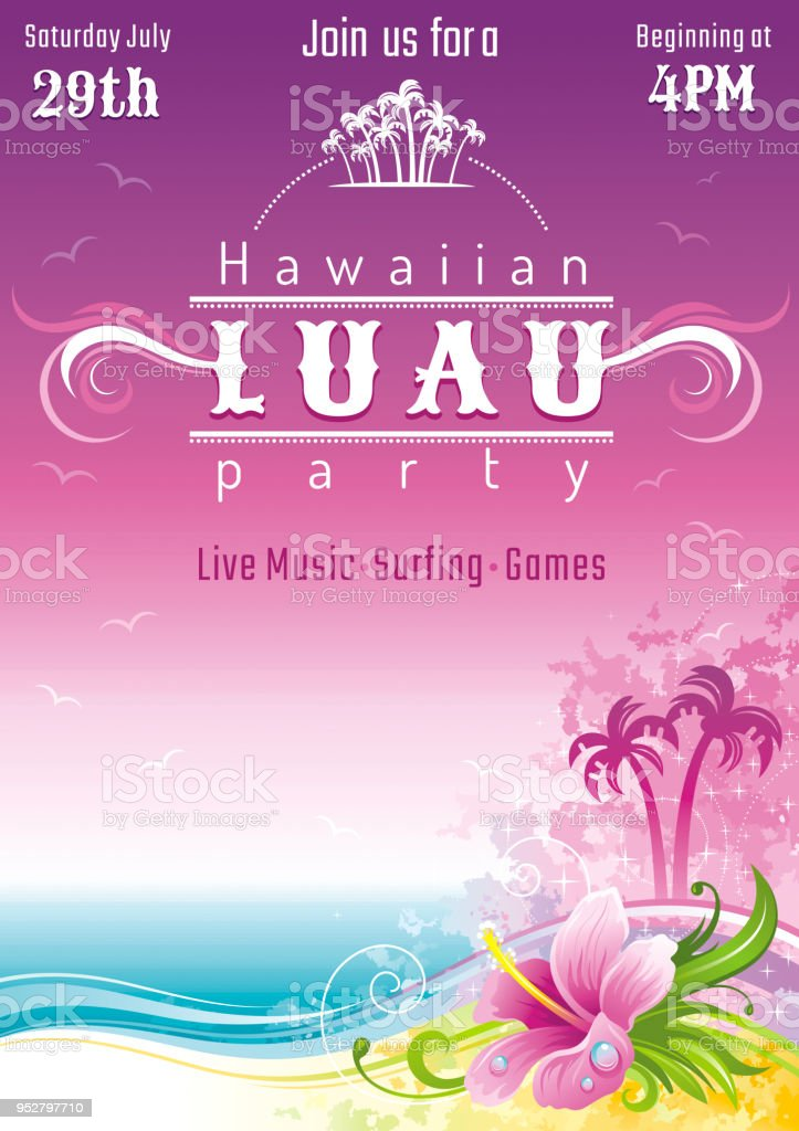 evening beach sea flyer hawaiian luau party watercolor hibiscus flower vector illustration aloha hawaii design summer holidays vacation banner vacation poster tropical island travel logo icon stock illustration download image now