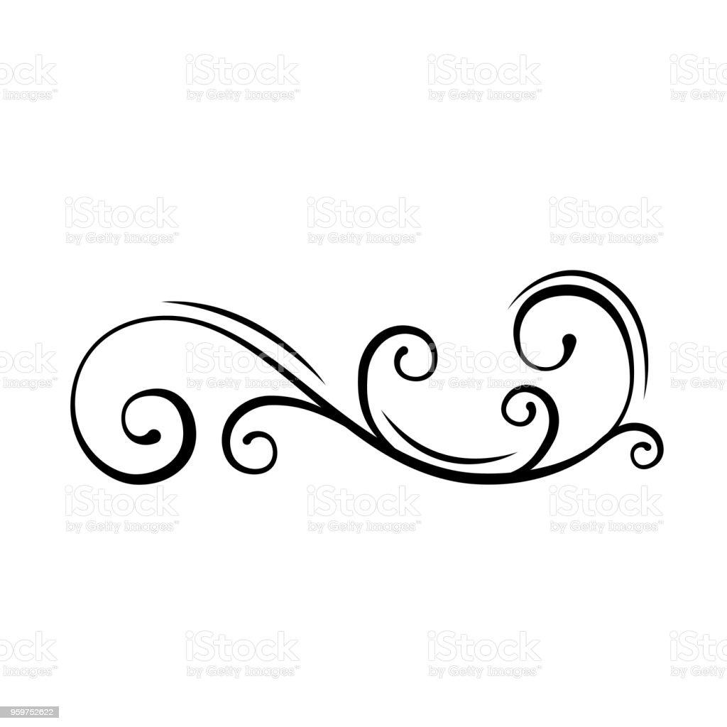 Tourbillon Decoratif Floral Element De Dessin Calligraphique De Filigrane Bordure De Page De Resume De Sepanouir